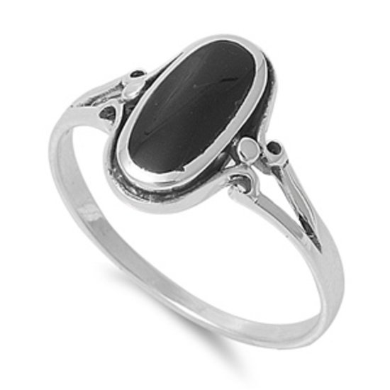 Bezel Set Black Onyx Stone Promise Ring 925 Solid Sterling Silver Band Natural B