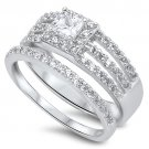 Sterling Silver 1/2 CT PRINCESS CUT HALO CZ TWO PIECE WEDDING RING SET Sterling
