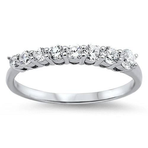 8 Stone Graduated CZ Journey Anniversary Band Ring Sterling Silver Sterling Silv