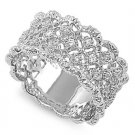 11mm Filigree Band Pave Cubic Zirconia Fashion Ring Sterling Silver CLEAR