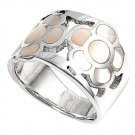 silver Ring W/Stone - Flower Natural MOTHER OF PEARL .925 Solid Sterling Silver