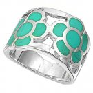 silver Ring W/Stone - Flower Natural TURQUOISE .925 Solid Sterling Silver Ring