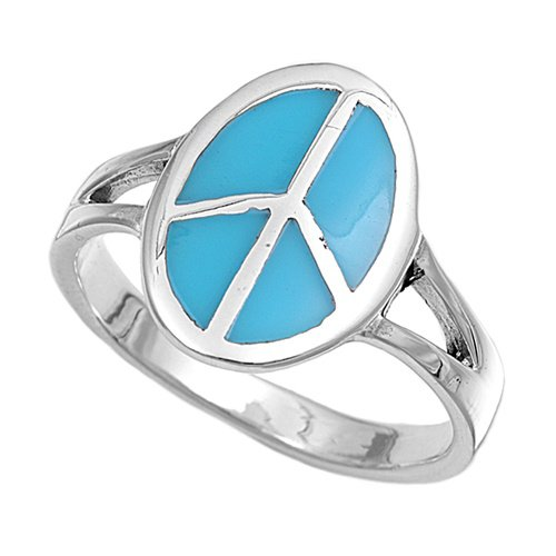Silver Ring - Peace Sign Natural  .925 Solid Sterling Silver Ring