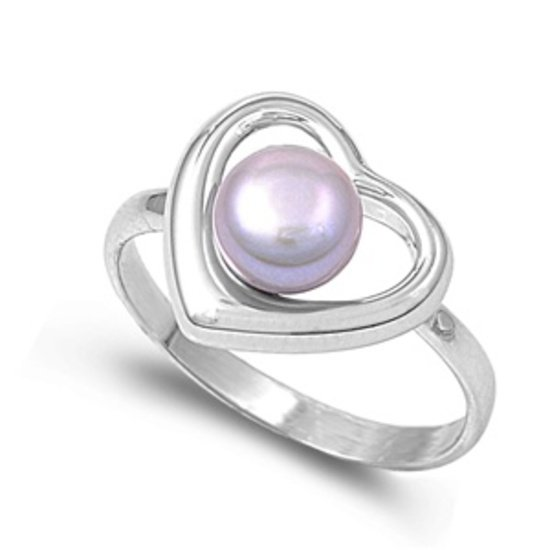 silver Ring W/ Pearl  - Heart Natural Genuine Fresh Water Pearl .925 Solid Sterl