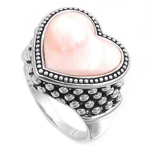 silver Ring W/ Stone - Heart Natural Pink Mother of Pearl .925 Solid Sterling Si