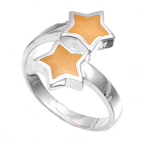 silver Ring W/ Stone - Star Natural  .925 Solid Sterling Silver Ring