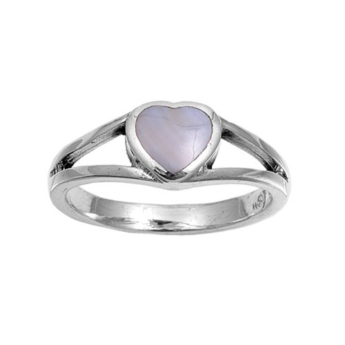 silver Ring W/ Stone - Heart Natural MOTHER OF PEARL .925 Solid Sterling Silver