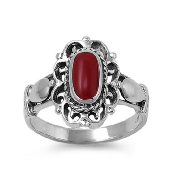 Silver Ring W/ Stone Natural Red .925 Solid Sterling Silver Ring