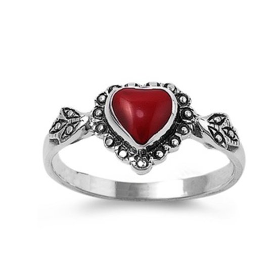 Silver Ring W/ Stone - Heart Natural Red .925 Solid Sterling Silver Ring