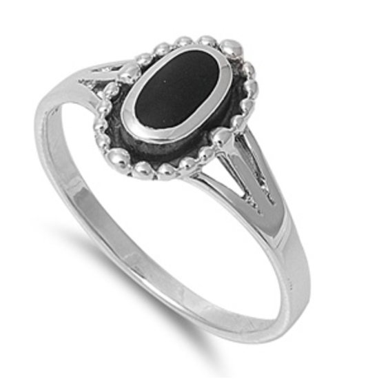 Black Onyx Stone Promise Ring Solid 925 Sterling Silver Band Natural BLACK ONYX