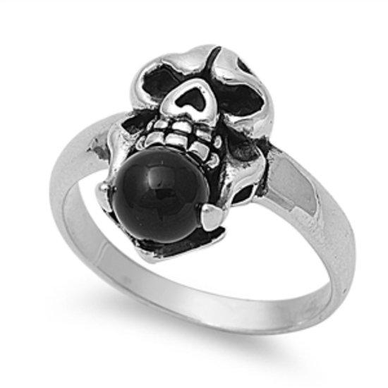 Men's Women's Natural Black Onyx Skull Ring 925 Solid Sterling Silver Natural BL