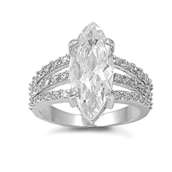 3CT Vintage Marquise Solitaire Cubic Zirconia Engagement Ring Sterling Silver
