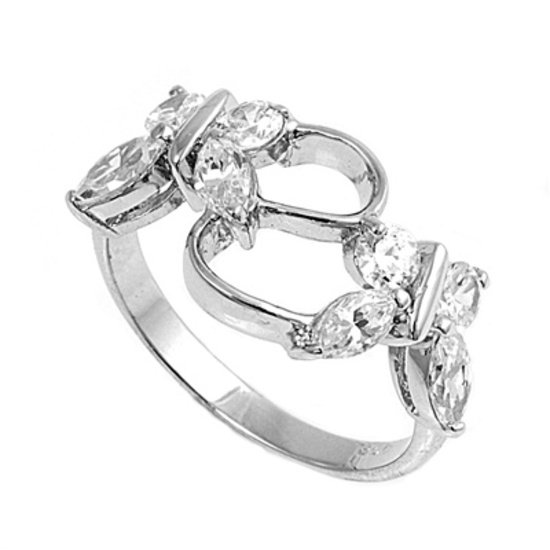 Silver Butterfly Brilliant and Marquise Cubic Zirconia Fashion Ring Solid Sterli