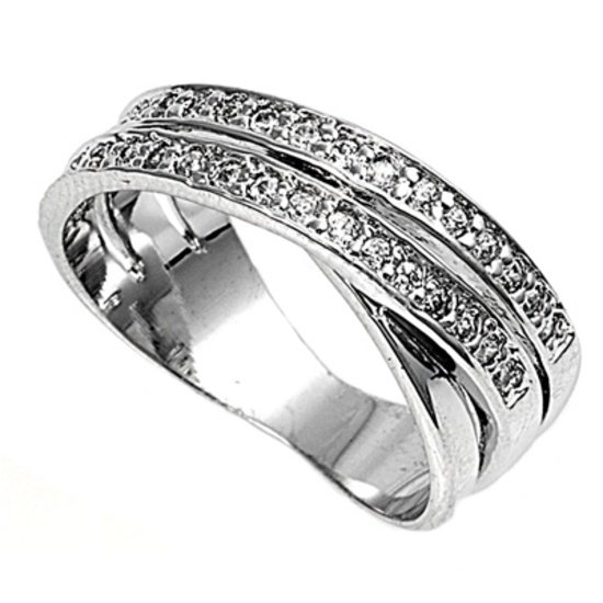 Silver Trinity Band Illusion Pave Cubic Zirconia Fashion Band Ring Solid Sterlin
