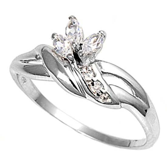 Silver Twisted Style Shank Marquise Cut Cubic Zirconia Fashion Ring Solid Sterli