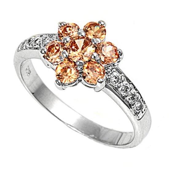 Silver Flower Design Brilliant Cut Champagne CZ Fashion Ring Solid Sterling CHAM