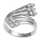 Silver Art Deco Brilliant Tipped Cubic Zirconia Fashion Ring Solid Sterling CLEA