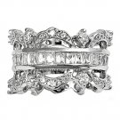 Silver Antique Channel Set Princess Cut Cubic Zirconia Fashion Band Ring Solid S