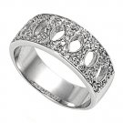 Silver Antique Style Pave Cubic Zirconia Wedding Band Ring Solid Sterling CLEAR