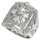 Silver Antique Designer Inspired Oval Cut Pave CZ Fashion Ring Solid Sterling CL