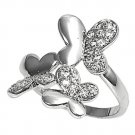 Silver Three Butterflies Pave Cubic Zirconia Fashion Ring Solid Sterling CLEAR