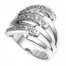 Silver Clasped Pave Cubic Zirconia Tapered Fashion Ring Solid Sterling CLEAR