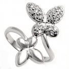 Silver Opposite Butterflies Pave Cubic Zirconia Fashion Ring Solid Sterling CLEA