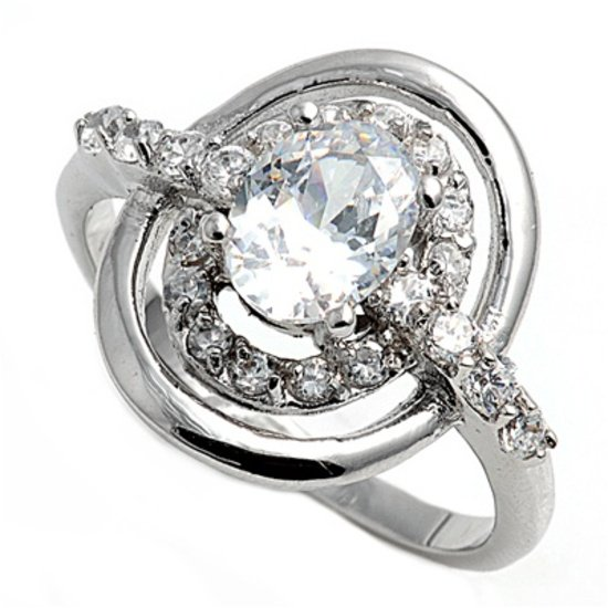 Silver Designer Inspired Oval Cut Cubic Zirconia Fashion Ring Solid Sterling CLE