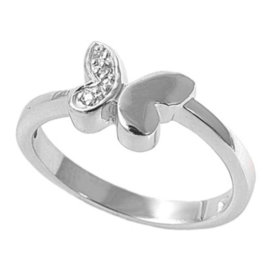 Silver One Winged Pave Cubic Zirconia Fashion Ring Solid Sterling CLEAR