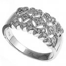 Silver Filigree Band Brilliant Cut Stones Cubic Zirconia Fashion Ring Solid Ster