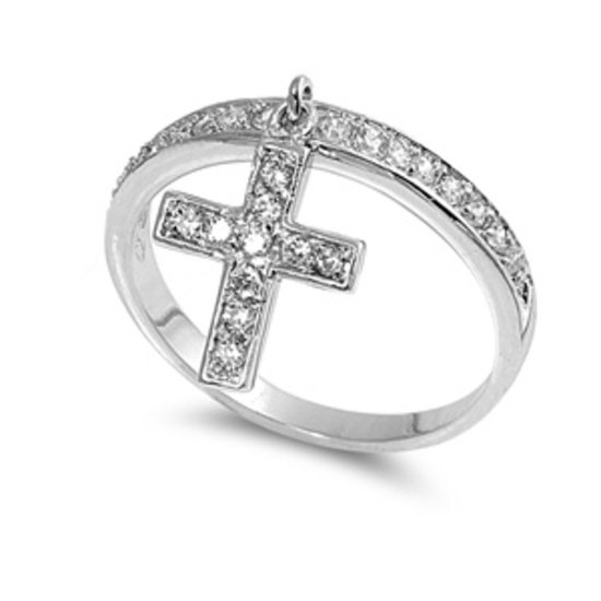 Silver Pave Brilliant Band with Dangling Cross CZ Fashion Ring Solid Sterling CL