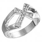 Silver Cross Design Brilliant Cut Cubic Zirconia Fashion Ring Solid Sterling CLE