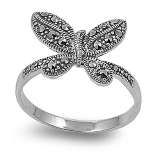 Antique Vintage Butterfly Design CZ Rhodium Plated Marcasite Ring Sterling Silve