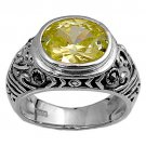 Antique 4CT Bezel Set Oval Cut Peridot CZ Marcasite Ring Sterling Silver PERIDOT