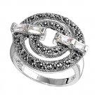 Antique Designer Inspired Baguettes CZ Marcasite Ring Sterling Silver CLEAR