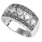 Antique Princess Cut CZ Tapered Band Marcasite Ring Sterling Silver CLEAR