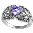 Antique 2CT Solitaire Brilliant Cut Lavender CZ Marcasite Ring Sterling Silver L