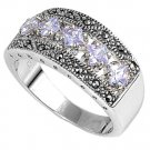 Antique Princess Cut Lavender CZ Tapered Band Marcasite Ring Sterling Silver LAV