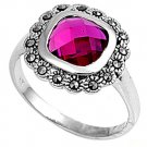 Antique 2CT Cushion Cut Bezel Set Ruby CZ Marcasite Ring Sterling Silver RUBY