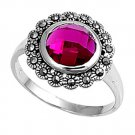 Antique 2CT Brilliant Cut Bezel Set Ruby CZ Marcasite Ring Sterling Silver RUBY