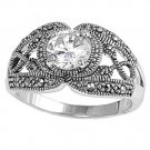Antique 2CT Solitaire Brilliant Cut CZ Marcasite Ring Sterling Silver CLEAR