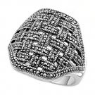 Antique Designer Inspired Braided Design CZ Marcasite Ring Sterling Silver MARCA