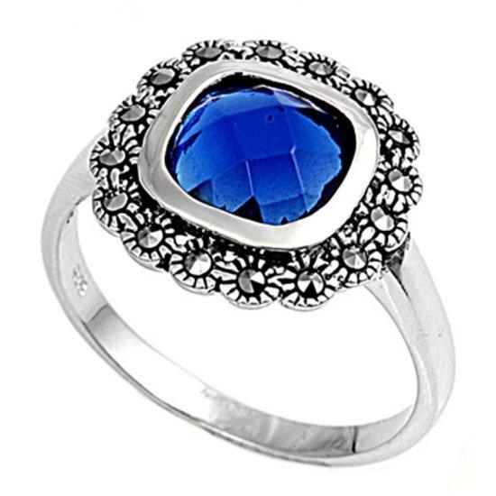Antique 2CT Cushion Cut Bezel Set Blue Sapphire CZ Marcasite Ring Sterling Silve