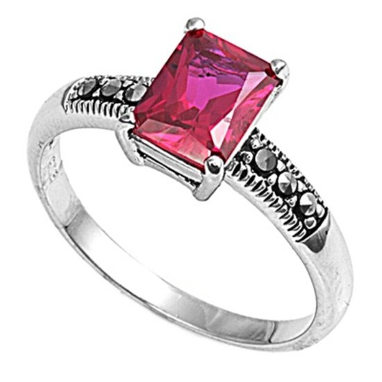 Antique 2CT Emerald Cut Ruby CZ Solitaire Marcasite Ring Sterling Silver RUBY