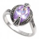 Antique 4CT Oval Cut Lavender Cubic Zirconia Silver Marcasite Ring Sterling Silv