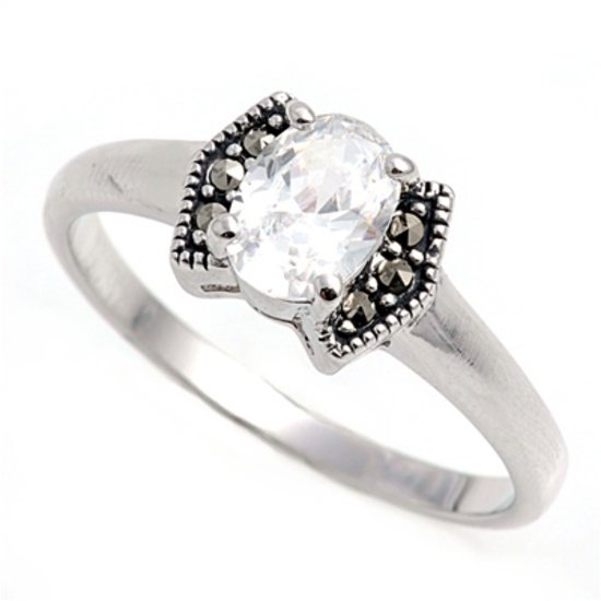 Antique 1CT Oval Cut Cubic Zirconia Silver Marcasite Ring Sterling Silver CLEAR