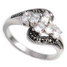 Antique Oval Cut Cubic Zirconia Silver Marcasite Ring Sterling Silver CLEAR