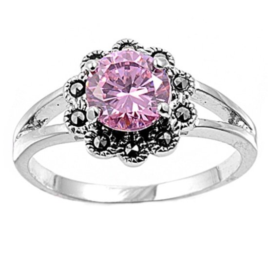Antique 2CT Solitaire Brilliant Cut Pink Cubic Zirconia Marcasite Ring Sterling