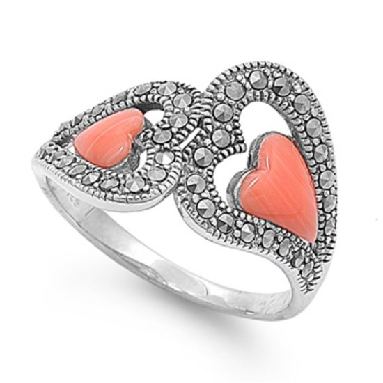 Antique Vintage Two Heart Shape Cubic Zirconia Marcasite Ring Sterling Silver