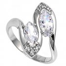 Silver Designer Inspired Marquise Cut Cubic Zirconia Fashion Ring Solid Sterling